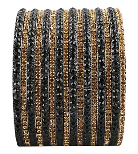 Newsantosh Attractive Bollywood Style Alloy Crystal Rhodium Plated Bangle Set (Pack Of 16) - B015KGI0IM