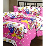 CrazeVilla Princess Cartoon Print Single Bed Reversible Ac Blanket/Dohar For Kids