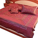 Ufc Mart Maroon Silk Double Bedspread Bed Cover With 4 Pillow Cover, Color: Maroon, #Ufc00314