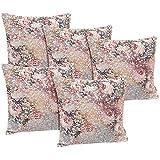 Idrape Polyester 5 Piece Cushion Cover Set- Pink, 40 Cm X 40 Cm