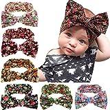Jiaqee 6 Pack Baby Girl Bowknot Turban Headband Head Wrap Knotted Hair Band Sets