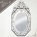 IndianShelf Handmade Vintage New Design Decorative Clear Glass Wood And Iron Venetian Mirror 42 Inches X 24 Inches