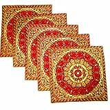Kriti Creations Set Of 5 Royal Benarasi Red Cushion Covers (16*16 IN)