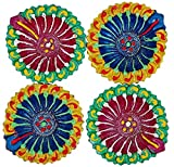 Art with Emphasis Traditional Round Terracotta Diya with Wick ( Set of 4)