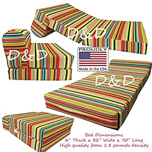 Amazon Multi Colors Stripes Twin Size Sleeper Chair Folding Foam Beds High Quality Foam 1