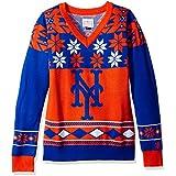 New York Mets MLB 2015 Big Logo V-Neck Holiday Sweater - Choose Size