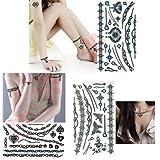 3-pack Sexy Jewelry Fashion Temporary Tattoos - 3 Blue Jewelry Series Set