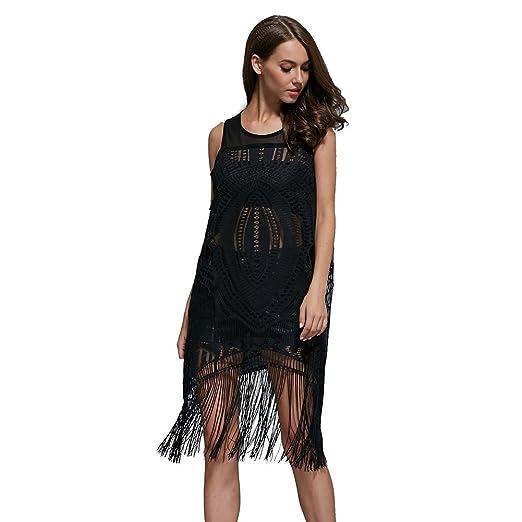 Froomer Women's Net Yarn Tassels Flower Black Cocktail Dress
