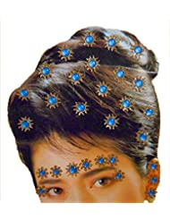 DollsofIndia Golden And Blue Color Stone Studded Stick-on Hair, Forehead And Ear Decoration For Brides (Can Be...