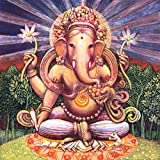 Tallenge - Traditional Indian Art - Chaturbhuj Ganapati - Ganesha Painting Collection - Small Size Unframed Rolled Digital Art Print On Photographic Paper For Home And Office Décor (12x12 Inches)