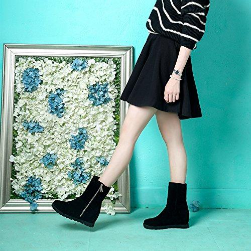 Duantong Schneeschuhe in den höheren weiblichen koreanischen Version von Baumwollfrauen runden seitlichen Reißverschluss-Stiefel