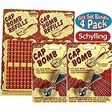 Schylling Classic Retro Metal Cap Bombs & Refills Gift Set Bundle 4 Pack (2 Cap Bombs & 2 Refills)