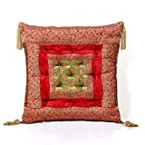Jodhaa Cushion In Velvet And Brocade In Red / Green