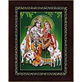 Avercart Lord Krishna / Shri Krishna With Radha / Symbol Of Divine Love / Sri Radha-Krishna Poster 5x7 Inch With Photo Frame (13x18 Cm Framed)