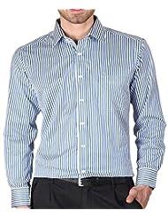 Modo Men's Slim Fit Formal Shirt -Blue