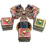 Mugdh Art Wooden Dry Fruit Box With Stand (18 Cm X 18 Cm X 19 Cm, SH 102)