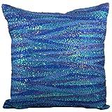 Svisti Raw Silk Single Piece Cushion Cover-Blue, 40.64 Cm X 40.64 Cm - B00N3NZRDG