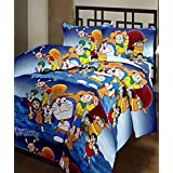 Sai Arpan's Doremon PolyCotton Single Bed Sheet With Pillow Cover