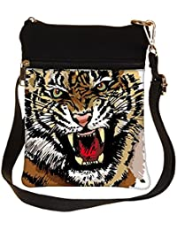 Snoogg Sketch Of Tiger Vector Illustration Cross Body Tote Bag / Shoulder Sling Carry Bag