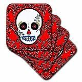 3dRose Cst_28866_1 Day Of The Dead Skull Día De Los Muertos Sugar Skull Scroll Design Soft Coasters, Red/Black...