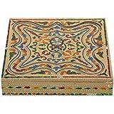 Crafts Creator Wooden Decorative Box (19 Cm X 19 Cm X 4 Cm, CC_44)