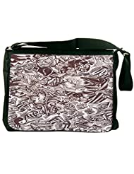 Snoogg Sketch Black And White Computer Padded Compartment Carrying Case Laptop Notebook Shoulder Messenger Bag...