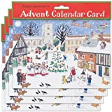 Alison Gardiner Pack of 4 Traditional Advent Calendar Cards -Christmas in the Village by Alison Gardiner