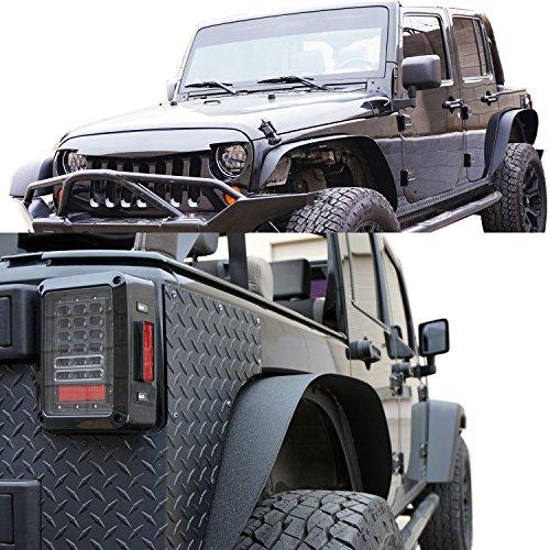 GENSSI Custom Steel Black Textured Fender Flare Set For Jeep Wrangler JK