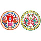DollsofIndia Pair Of Rangoli Print On Transparent Plastic Sheet Sticker - Dia - 9 Inches Each
