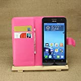 Best Deals - Asus Zenfone5 Premium Quality PU Leather Wallet Stand Protective Flip Cover Case - HotPink