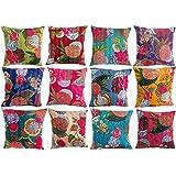 HANDICRAFTOFPINKCITY Indian Kantha Cushion Cover ,Throw Handmade Cotton Pillow Cases 16'' Lot Of 5 Pcs