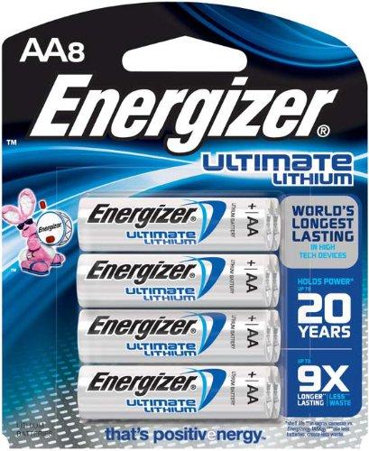 Energizer Ultimate Lithium AA Batteries, World's Longest-Lasting, (8-Pack)