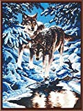 [WOODEN FRAMED] Diy Oil Painting, paint By Number- Snow Wolf 16*20 inch