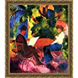 Couple At The Garden Table By Macke - ArtsNyou Printed Paintings - B00QA1D8HK