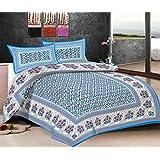 Viskar Fab Tex Rajasthani Hand Block Printed Jaipuri Cotton Double Bedsheet With 2 Pillow Covers Efflorescence...