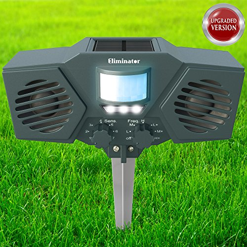 Eliminator Advanced Electronic Solar Energy Outdoor Animal and Rodent Pest Repeller for Cats, Dogs, Deer, Birds, etc. [UPGRADED VERSION]