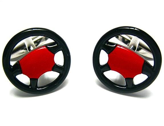Black & Red Car Truck Racing Steering Wheel Cufflinks
