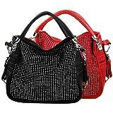 BENOITE Rhinestones Embellished Soft Leatherette Hobo Satchel Handbag Purse Convertible Shoulder Tote Bag