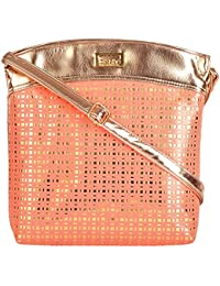 Angels Women's Sling Bag (Peach And Brown)