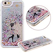 KC IPhone 6 Plus/6s Plus - Girl Holding Flower Umbrella Liquid 3D Bling Glitter Stars Print Flower Floating Sparkle...