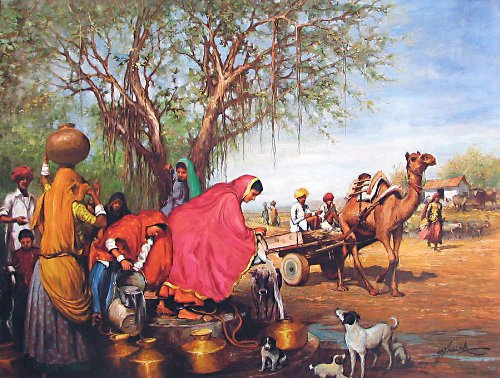 """Dolls Of India """"Rajasthani Village Well"""" Reprint On Paper - Unframed (91.44 X 58.42 Centimeters)"""