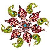 Creations 13 Piece Wooden Rangoli With Kundan Work RAN0002 (45 Cm * 45 Cm * 0.5 Cm)