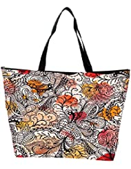 Snoogg Seamless Texture With Flowers And Butterflies Endless Floral Pattern Waterproof Bag Made Of High Strength... - B01I1KGTWI