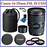 True Modern Electronics Canon EF 16-35mm F/4L IS USM Lens Pro Bundle Kit, Bundle Includes: Canon Front And Rear...