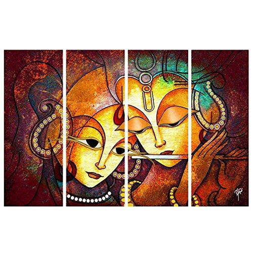 Paper Plane Design Sparkling Radha Krishna Wall Painting 4 Frames