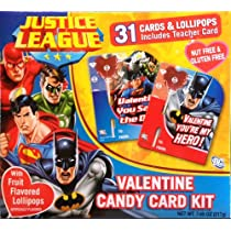 Justice League Valentine Candy Card Kit 31 Cards + Lollipops with Superman, Batman, Wonder Woman Etc.