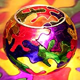 EarthenMetal Handcrafted Circular Shaped Hand Painted Multicoloured Glass Table Lamp (Small Lamp)