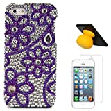 VanGoddy Flower Rhinestones Full Diamond Back Cover For Apple IPhone 5s (Purple) + Bluetooth Suction Stand Speakers... - B00VZ072KA