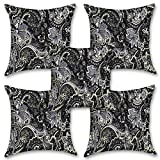"""Black Abstract 16''x16"""" Inches Set Of Five Cushion Cover By BS"""