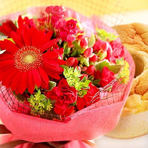 花とスイーツセット 花ギフト シフォンケーキ 生花 花束 ギフトセット (赤色のお花)